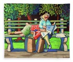 Two Ladies On Bench Fleece Blanket