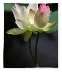 Two Lotus Flowers Fleece Blanket