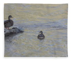 Two Mallard Ducks Fleece Blanket