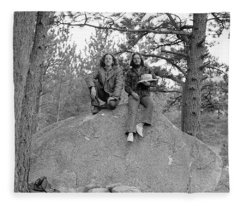 Two Men On A Boulder In The American West, 1972 Fleece Blanket