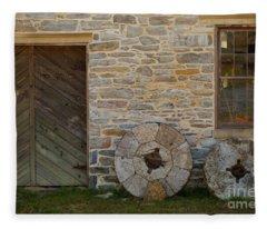 Two Mill Stones Against Building Fleece Blanket