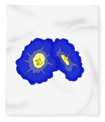 Two Morning Glories Fleece Blanket