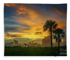 Two Palm Silhouette Sunrise Fleece Blanket