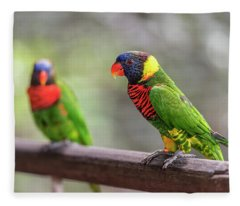 Fleece Blanket featuring the photograph Two Parrots by Pradeep Raja Prints