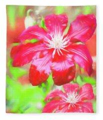 Two Red Clematis In The Rain. Fleece Blanket