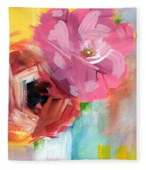 Two Roses- Art By Linda Woods Fleece Blanket