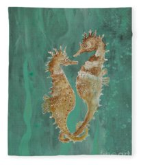 Two Seahorse Lovers Fleece Blanket