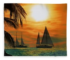 Two Ships Passing In The Night Fleece Blanket