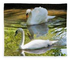 Two Swans On A Lake Fleece Blanket