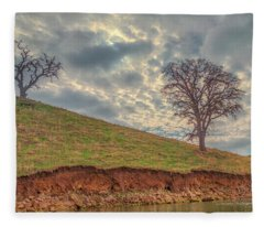 Two Trees And Clouds At Los Vaqueros Fleece Blanket