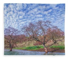 Two Trees In Water And Clouds Fleece Blanket
