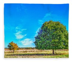Two Trees On The Illinois Prairie Fleece Blanket