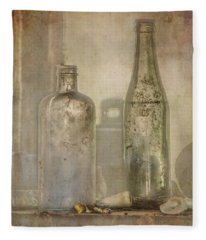 Two Vintage Bottles Fleece Blanket