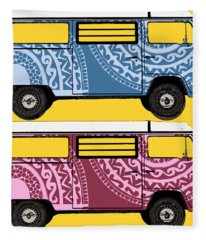 Two Vw Vans Fleece Blanket