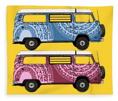 Two Vw Vans Fleece Blanket