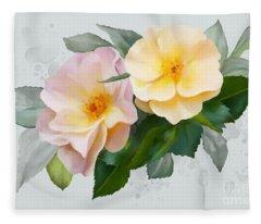 Two Wild Roses Fleece Blanket