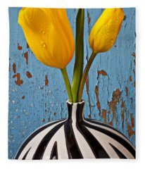 Two Yellow Tulips Fleece Blanket