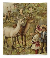 Two Young Children Feeding The Deer In A Park Fleece Blanket