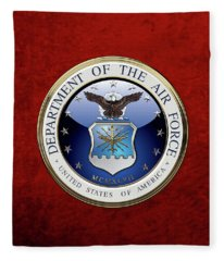 U. S.  Air Force  -  U S A F Emblem Over Red Velvet Fleece Blanket