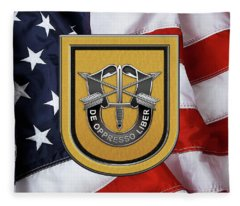 U. S.  Army 1st Special Forces Group - 1  S F G  Beret Flash Over American Flag Fleece Blanket