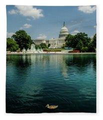 U S Capitol With A Duck Fleece Blanket