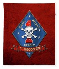 U S M C  1st Reconnaissance Battalion -  1st Recon Bn Insignia Over Red Velvet Fleece Blanket