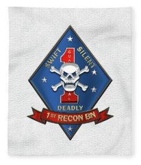 U S M C  1st Reconnaissance Battalion -  1st Recon Bn Insignia Over White Leather Fleece Blanket
