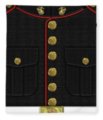 U S M C Dress Uniform Fleece Blanket