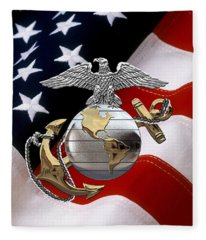 U S M C Eagle Globe And Anchor - C O And Warrant Officer E G A Over U. S. Flag Fleece Blanket