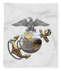 U S M C Eagle Globe And Anchor - C O And Warrant Officer E G A Over White Leather Fleece Blanket
