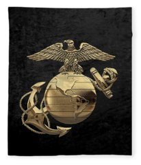 U S M C Eagle Globe And Anchor - N C O And Enlisted E G A Over Black Velvet Fleece Blanket