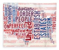 U S Map Preamble Word Cloud4 Fleece Blanket