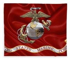 U. S.  Marine Corps - U S M C Eagle Globe And Anchor Over Corps Flag Fleece Blanket