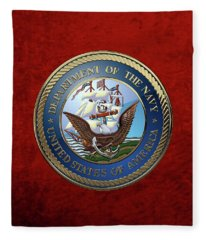 U. S.  Navy  -  U S N Emblem Over Red Velvet Fleece Blanket