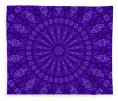 Ultra Violet And Purple Monotone Kaleidoscope Fleece Blanket