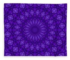 Ultra Violet And Purple Monotone Mandala Pattern Fleece Blanket