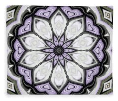 Ultra Violet Silver And Lilac Abstract Floral Pattern Fleece Blanket