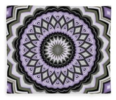 Ultra Violet Silver And Lilac Abstract Geo Pattern Fleece Blanket