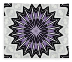 Ultra Violet Silver And Lilac Abstract Kaleidoscope Pattern Fleece Blanket