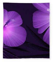 Ultraviolet Hibiscus Tropical Nature Print  Fleece Blanket