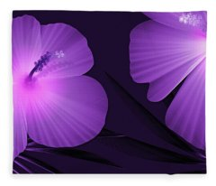 Ultraviolet Hibiscus Tropical Nature Print  Fleece Blanket