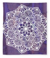 Ultraviolet Mandala Fleece Blanket