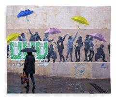 Umbrellas In Paris Fleece Blanket