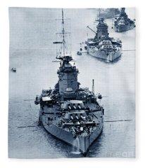 Hms Nelson And Hms Rodney Battleships And Battlecruisers Hms Hood Circa 1941 Fleece Blanket