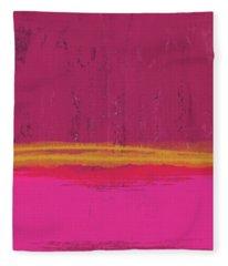 Undaunted Pink Abstract- Art By Linda Woods Fleece Blanket