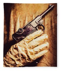 Undead Mummy  Holding Handgun Against Wooden Wall Fleece Blanket