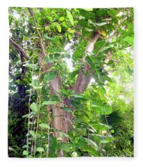 Under A Tropical Tree With Vines Fleece Blanket