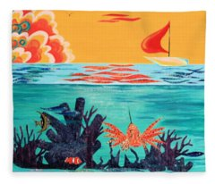 Bright Coral Reef Fleece Blanket