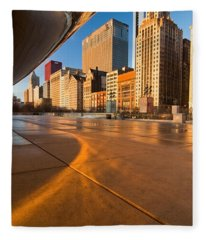 Under The Bean And Chicago Skyline At Sunrise Fleece Blanket