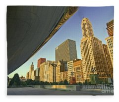 Under The Bean And Chicago Skyline Fleece Blanket
